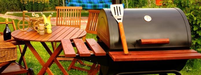 Outdoor griller on garden
