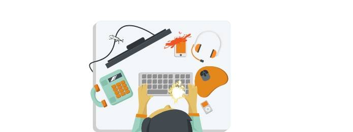 Cartoon of person with telephone, earphone, keyboard, and mouse