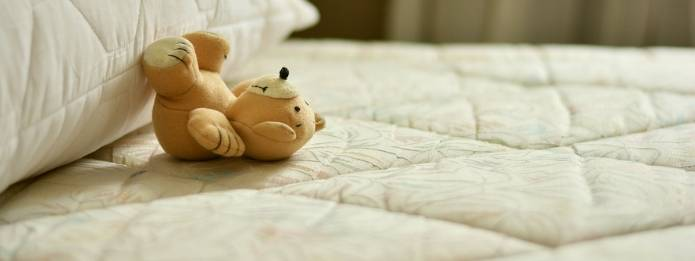 Teddy bear placed on bed